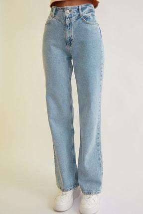 TRENDYOLMİLLA Mavi Bel Detaylı Yüksek Bel 90's Wide Leg Jeans TWOSS21JE0385 3