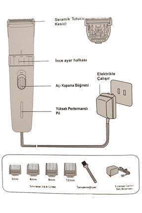 İŞTEBUKACMAZ Profesyonel Berber Şarjlı Standlı Kablosuz Seramik Bıçak Saç Ve Sakal Makinesi Pd4500 2