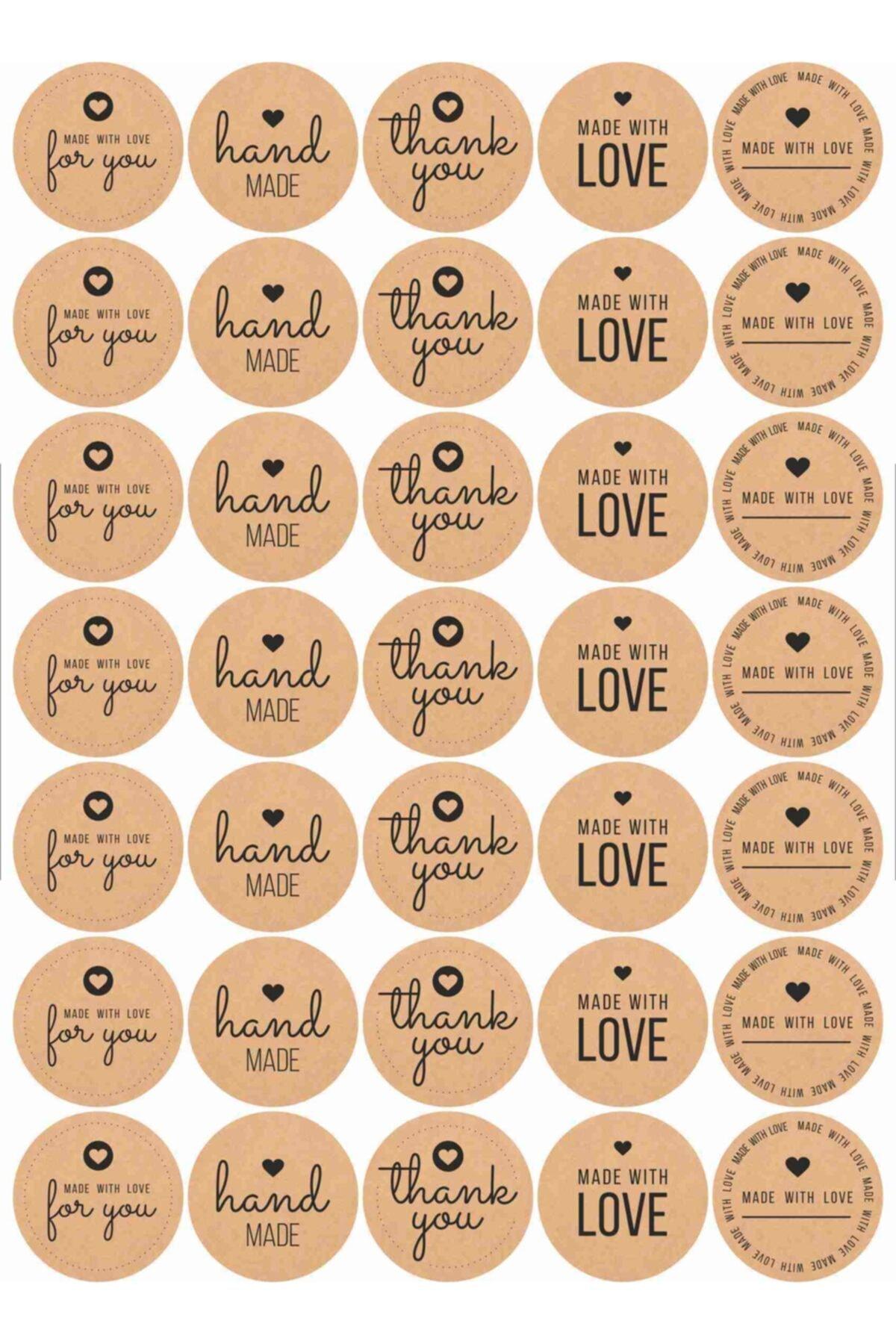 70 Adet Thank You-hand Made Etiket, 10 Farklı Tasarım Stıcker