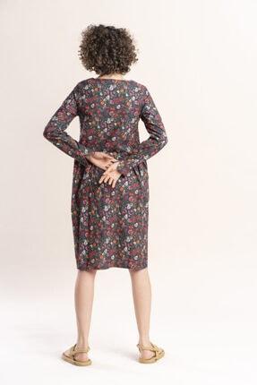 İpekçi Otantik Kadın Haki Otantik Çiçek Desenli Pazen Elbise 1