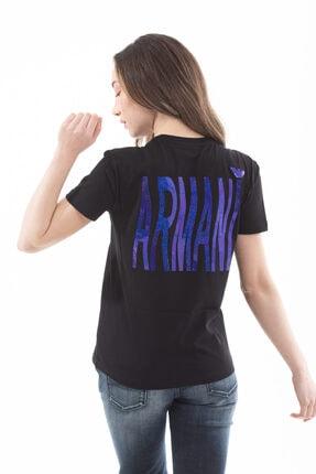 Emporio Armani Kadın  Pamuklu Sırt Logo Yazılı Kısa Kollu T-shirt 4