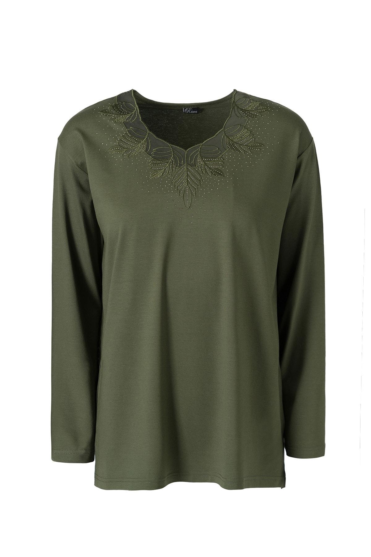 Büyük Beden Desenli Anne Penye Bluz