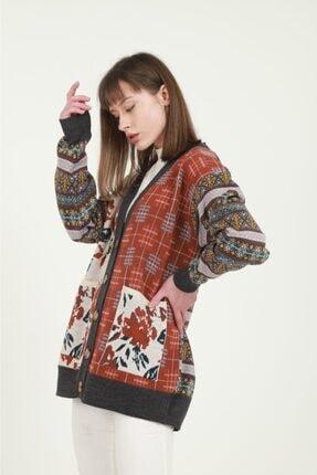 Anıl Tekstil Kadın Gri Etnik Desenli Hırka 1