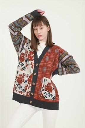 Anıl Tekstil Kadın Gri Etnik Desenli Hırka 3
