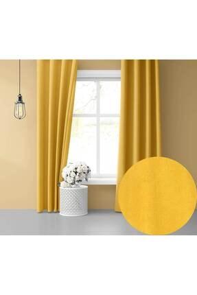 Perle Home Daily Series Güneş Sarısı Fon Perde 150x260 cm 0