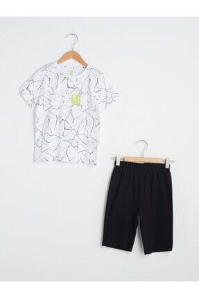 Picture of Erkek Çocuk Beyaz Desenli Pijama Takım