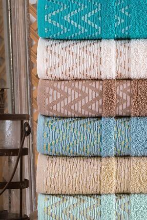 Binnur Home Wave 50x90 Cm 6 Lı Antibakteriyel El Ve Yüz Havlusu   Pamuklu 3