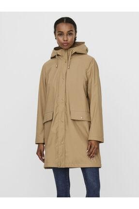 Vero Moda Kadın Bej Kapüşonlu Polarlı Yağmurluk Mont 10238956 2