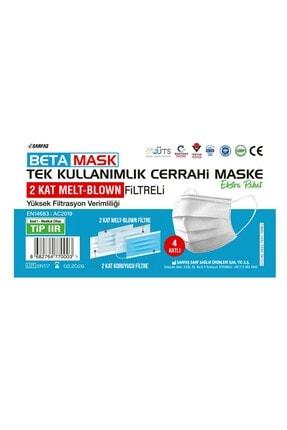SARFAŞ Beta Mask Beyaz ÜTS Kayıtlı 4 Katlı  Meltblown Filtre Cerrahi Maske 100 Adet 2