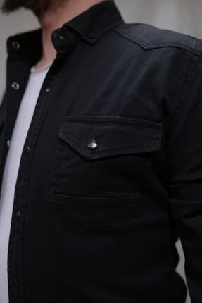 YXC Erkek Siyah Çift Cepli Çıtçıtlı Kot Gömlek 00064 2