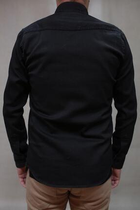 YXC Erkek Siyah Çift Cepli Çıtçıtlı Kot Gömlek 00064 4