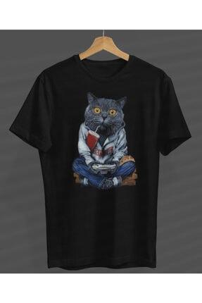NVM Tekstil Unisex Game Play Kedi Özel Tasarım Siyah Yuvarlak Yaka T-shirt 0