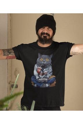 NVM Tekstil Unisex Game Play Kedi Özel Tasarım Siyah Yuvarlak Yaka T-shirt 1