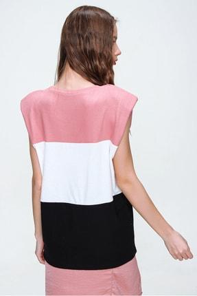 Trend Alaçatı Stili Kadın Gül Kurusu Vatkalı Üç Bloklu Yumuşak Dokulu Bluz ALC-X5977 4
