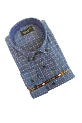 bigese Indigo Kutu Kareli Düğmeli Yaka Pamuklu Erkek Gömlek 0