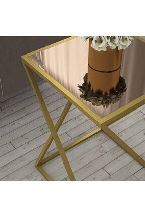 tino furniture Home Star Gold Yan Sehpa Bronz Aynalı Metal Ayaklı Yan Sehpa 2