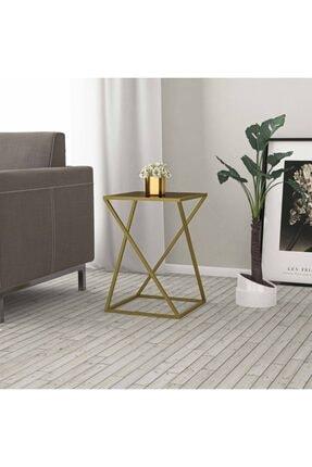 tino furniture Home Star Gold Yan Sehpa Bronz Aynalı Metal Ayaklı Yan Sehpa 3