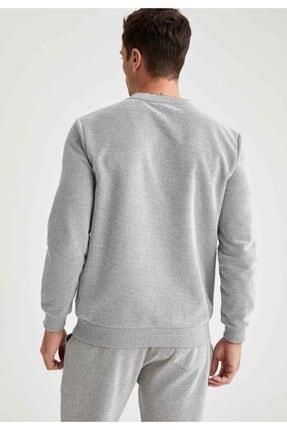 Defacto Erkek Grey Melange Bisiklet Yaka Regular Fit Sweatshirt R2619AZ20AU 3