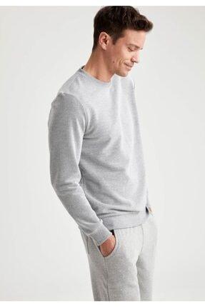 Defacto Erkek Grey Melange Bisiklet Yaka Regular Fit Sweatshirt R2619AZ20AU 4
