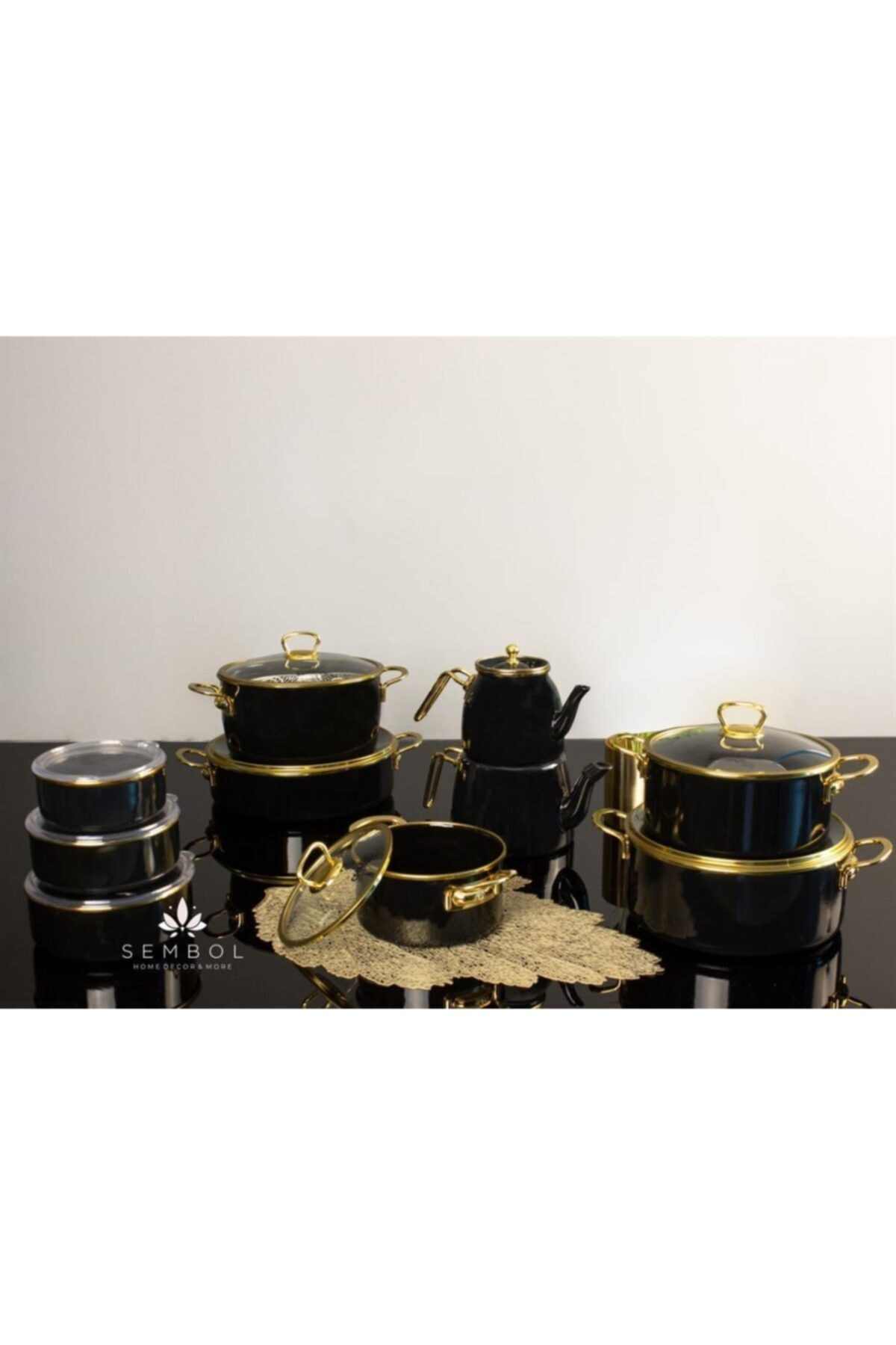 Zücev Valery Emaye 26 Cm Karnıyarık Tenceresi Siyah/gold