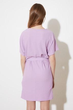 TRENDYOLMİLLA Lila Bağlama Detaylı Örme Elbise TWOSS21EL2015 4