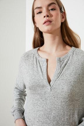 TRENDYOLMİLLA Gri Fake Triko Maxi Örme Elbise TWOAW21EL1685 3