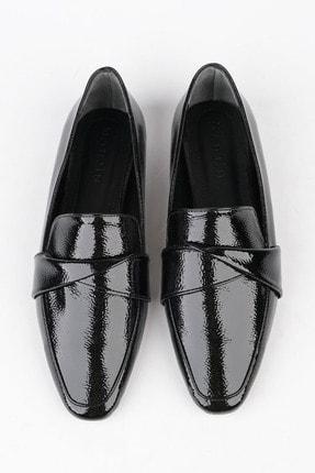 Marjin Kadın Siyah Rugan Loafer Ayakkabı Rezva 2