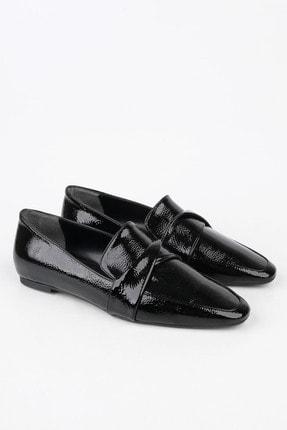 Marjin Kadın Siyah Rugan Loafer Ayakkabı Rezva 4