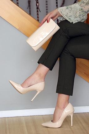 WMİLANO Kadın Ten Rugan İnce Topuklu Ayakkabı Çanta Takım 0