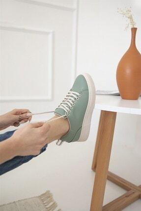 Straswans Kadın Yeşil Papel Deri Spor Ayakkabı 1