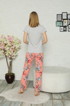 Little Hopes Kadın Gri  Somon Kısa Kollu Çiçek Desenli Pijama Takımı 3