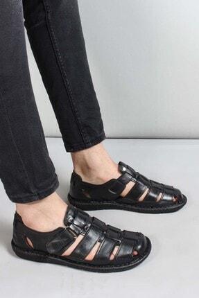 Fast Step Hakiki Deri Siyah Erkek Klasik Sandalet 819MA025 0