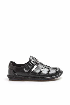 Fast Step Hakiki Deri Siyah Erkek Klasik Sandalet 819MA025 1