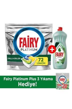 Fairy Platinum 72 Yıkama Bulaşık Makinesi Deterjanı Kapsülü + 750ml Losyon Bulaşık Deterjanı 0