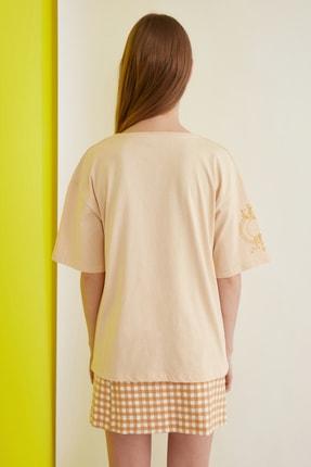 TRENDYOLMİLLA Camel Nakışlı Örme T-Shirt TWOSS20TS0285 4
