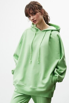 GRIMELANGE VIENNA Kadın Yeşil Ekstra Oversize Yan Cepli Kapüşonlu Sweatshirt 0
