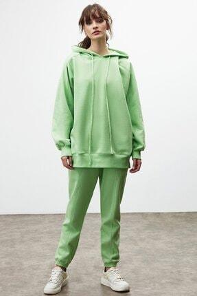 GRIMELANGE VIENNA Kadın Yeşil Ekstra Oversize Yan Cepli Kapüşonlu Sweatshirt 1
