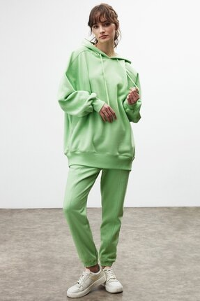 GRIMELANGE VIENNA Kadın Yeşil Ekstra Oversize Yan Cepli Kapüşonlu Sweatshirt 4