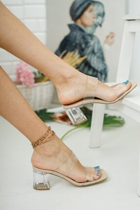 meyra moda Şeffaf Bant Ve Topuk Detay Topuklu Ayakkabı 0