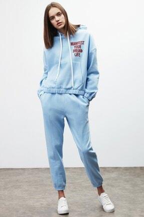 GRIMELANGE CHAYA Kadın Mavi Önü ve Arkası Baskılı Kapüşonlu Sweatshirt 1
