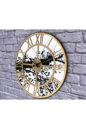 Markakanvas Aynalı Metal Duvar Saati Altın Çap 50 cm 2