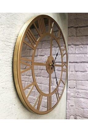 Markakanvas Aynalı Metal Duvar Saati Altın Çap 50 cm 3