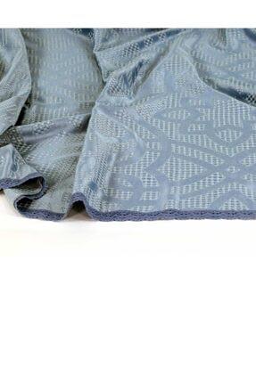 Elart Yatak Örtüsü Takımı Çift Kişilik Pamuk Dantelli Alen Mavi 3