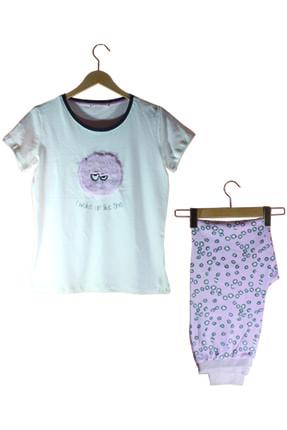 ÖNTUĞ Kadın  Pembe Tüylü Pijama Takımı 1