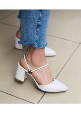 BY MAY SHOES Kadın Beyaz Topuklu İp Sandalet Terlik Ayakkabı 0