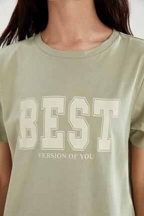 Defacto Slogan Baskılı Slim Fit Mini Tişört Elbise 2