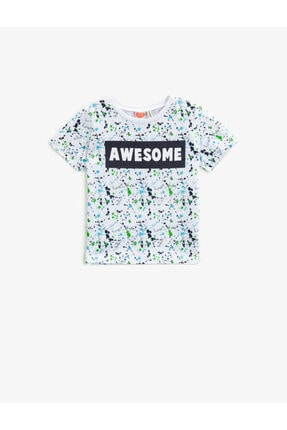 Koton Erkek Bebek Beyaz Bisiklet Yaka Pamuklu Tshirt 0