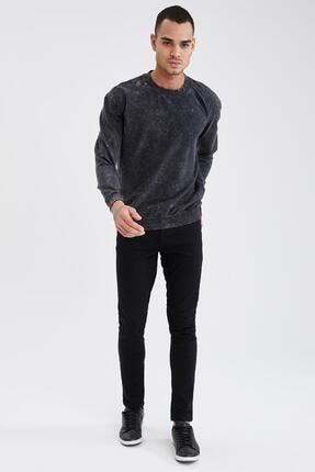 Defacto Oversize Fit Bisiklet Yaka Yıkama Efektli Sweatshirt 1