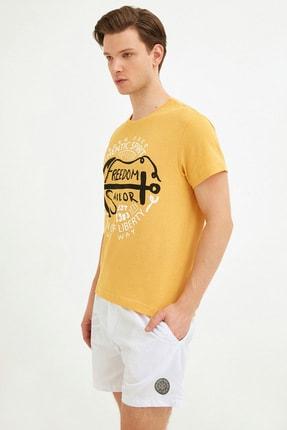 Fullamoda Erkek Sarı Bisiklet Yaka Freedom Baskılı Tshirt 0