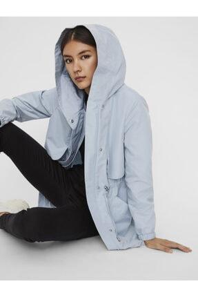 Vero Moda Kadın Mavi Kapüşonlu Beli Büzgülü Mevsimlik Mont 2